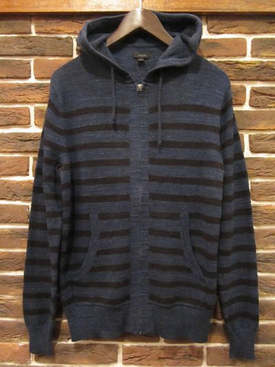 J.CREW(ジェイクルー)HEATHER BORDER 100%COOTON KNIT HOODIE(ボーダーニットパーカー)
