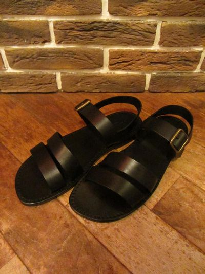 "RALPH LAUREN(ポロ ラルフローレン)JEMAL LEATHER SANDAL BLACK""MADE IN ITALY""(レザーサンダル)"